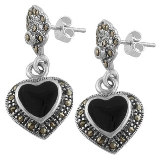Fremada Sterling Silver Black Onyx and Marcasite Heart Dangle Earrings