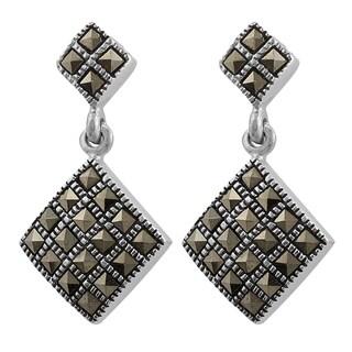 Fremada Sterling Silver Marcasite Diamond-shaped Dangle Earrings