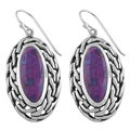 Fremada Sterling Silver Purple Turquoise Oval Dangle Earrings