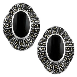 Fremada Sterling Silver Black Onyx and Marcasite Post Earrings