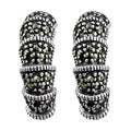 Fremada Sterling Silver Marcasite Half-hoop Earrings