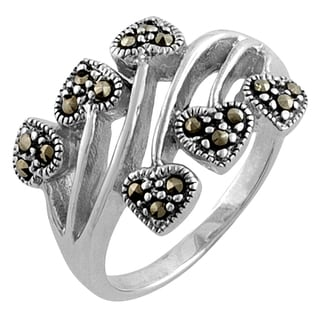 Fremada Sterling Silver Marcasite Hearts Ring