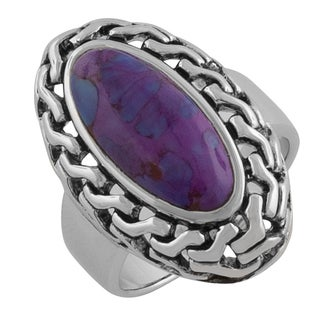 Fremada Sterling Silver Rimmed Oval Purple Turquoise Ring