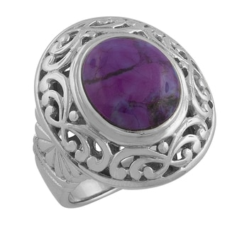 Fremada Sterling Silver Round Purple Turquoise Filigree Ring