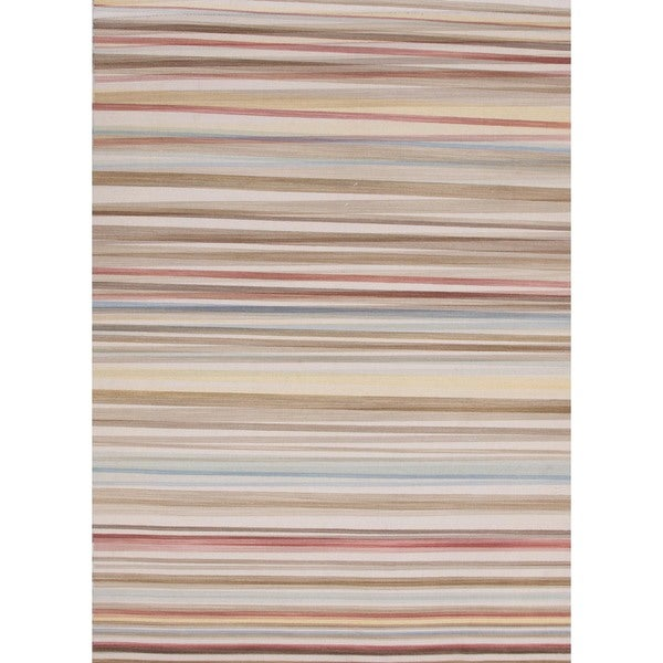 Casually Sophisticated Flat-Weave Stripe Multicolor Wool Rug (4' x 6')