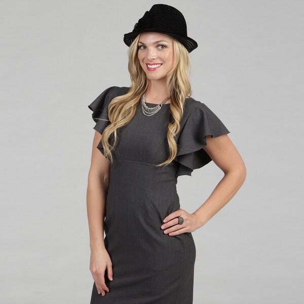 Swan Women's Solid Black Velvet Ribbon Packable Fedora Hat