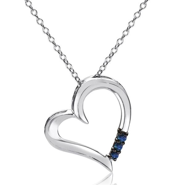 Sterling Silver 1/10ct Three Stone Blue Diamond Heart Pendant