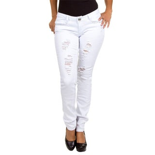 Stanzino Junior's White Straight Leg Distressed Jeans