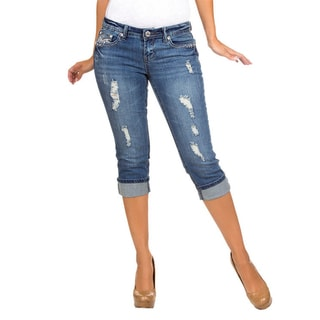 Stanzino Women's Blue Distressed Bermuda Cropped Jeans