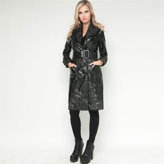 Stanzino Women's Black Belted Faux Fur Trim Long Coat