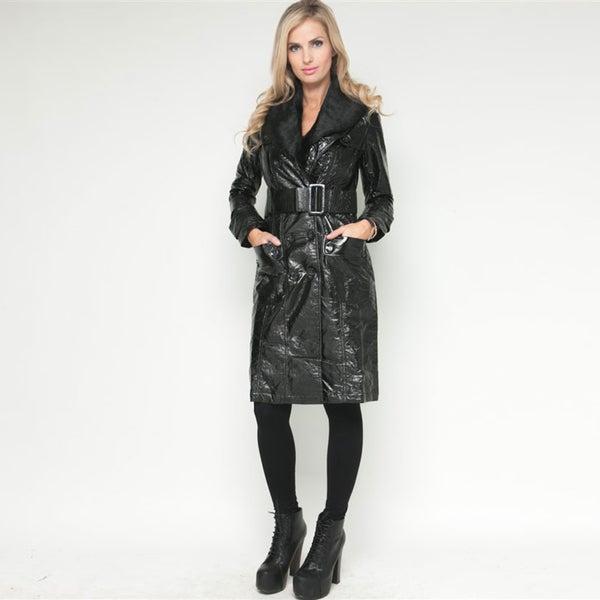 Stanzino Women's Black Belted Faux Fur Trim Long Coat