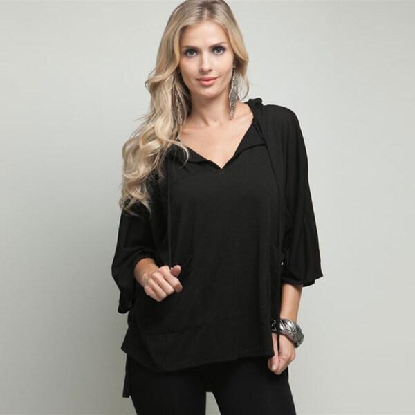 Stanzino Women's Black Hooded Pullover
