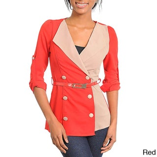 Stanzino Women's Two-tone Double Breasted Belted Jacket