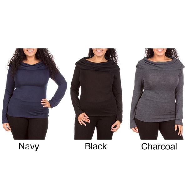 Stanzino Women's Cowl Neck Long Sleeve Plus Size Top