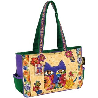 "Medium Tote W/Zipper Top 15""X4-1/2""X10""-Blossoming Feline"