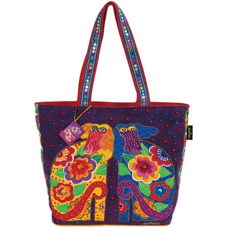 Shoulder Tote Zipper Top -Flowering Canines