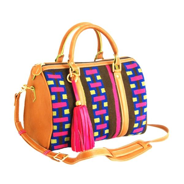 Claudia G. Alessa Wayuu Leather Satchel Bag