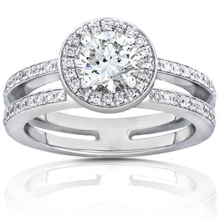 Annello 14k White Gold Moissanite and 1/3ct TDW Diamond Engagement Ring (G-H, I1-I2)