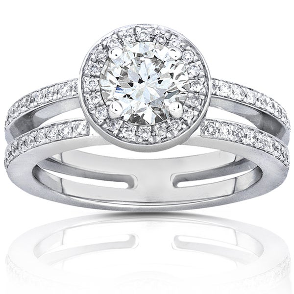 Annello 14k White Gold Moissanite and 1/3ct TDW Diamond Engagement Ring (G-H, I1-I2)