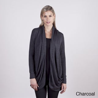 Colour Works Women's Drape Front Seam Out Detail Cardigan