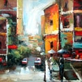 Street Scene Gallery Wrapped Hand-Painted Oil (32x32)