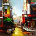 'At The Corner' Gallery Wrapped Hand-Painted Oil Painting