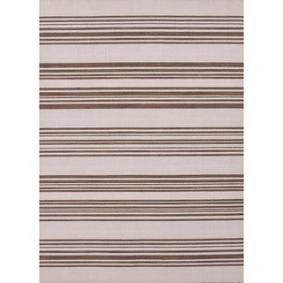 Flat-Weave Striped Beige-and-Brown Rectangular Wool Rug (9' x 12')