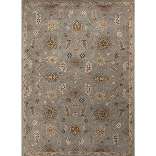 Hand-tufted Transitional Floral Blue Wool Rug (9'6 x 13'6)