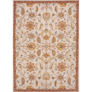 Hand-tufted Transitional Floral Beige/ Brown Wool Rug (9'6 x 13'6)