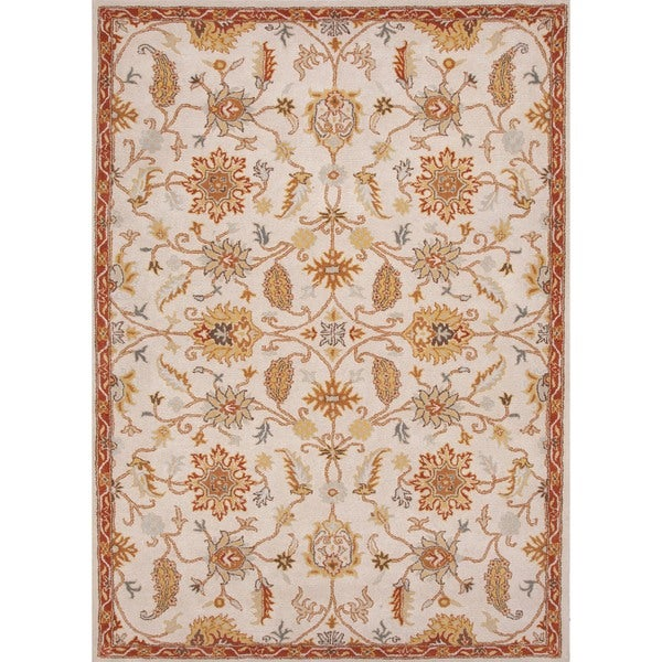 Hand-tufted Transitional Floral Beige/ Brown Wool Rug (3'6 x 5'6)