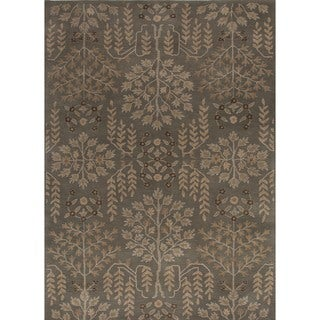 Hand-tufted Transitional Arts and Crafts Green Wool Rug (8' x 11')