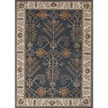 Hand-tufted Transitional Arts and Crafts Blue Wool Rug (5&#39; x 8&#39;)
