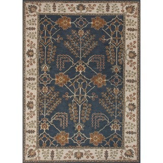 Hand-tufted Transitional Arts and Crafts Blue Wool Rug (3'6 x 5'6)