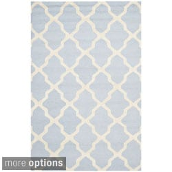 Handmade Cambridge Moroccan Oriental Light Blue Wool Rug