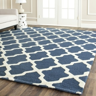 Handmade Cambridge Moroccan Blue Wool Rug