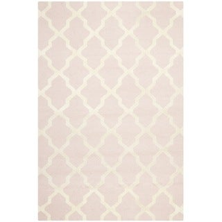 Traditional Handmade Cambridge Moroccan Light-Pink Wool Rug