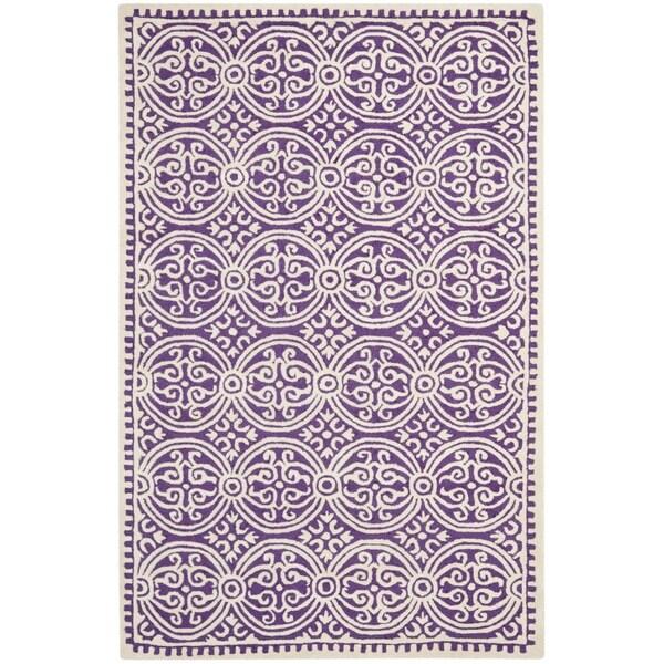 Safavieh Handmade Cambridge Moroccan Purple/ Ivory Rug (2' x 3')