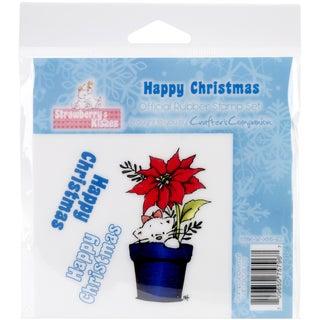 "Strawberry Kisses EZMount Cling Stamp Set 4.75""x4.75""-Happy Christmas"