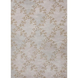 Hand-tufted Transitional Floral Blue Wool Rug (5' x 8')