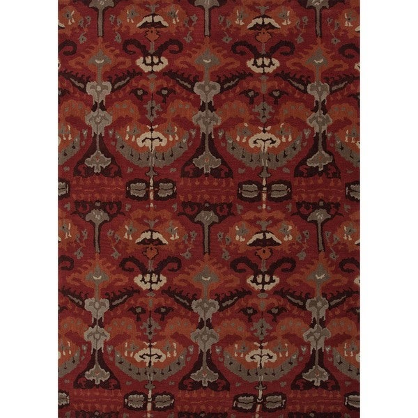 Hand-tufted Transitional Red Wool Rug (5' x 8')