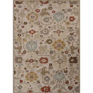 Hand-tufted Transitional Floral Beige Wool Rug (9'6 x 13'6)