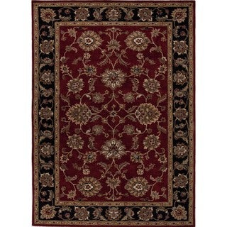 Hand-Tufted Traditional Red Wool Oriental Oval Rug (8' x 10')