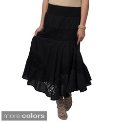Journee Collection Juniors Crochet Detail Tiered Maxi Skirt