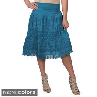 Journee Collection Juniors Crochet Detail Tiered Skirt