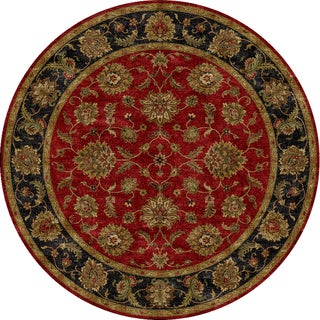 Hand-tufted Traditional Red Wool Rug (8' Round)