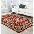 Hand-Tufted Traditional Oriental Red Wool Area Rug (10' x 14')