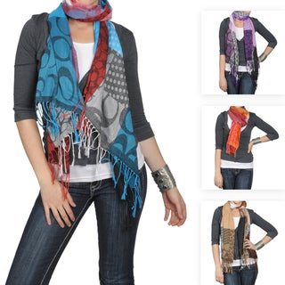 Journee Collection Women's Multi-print Fringed Scarf