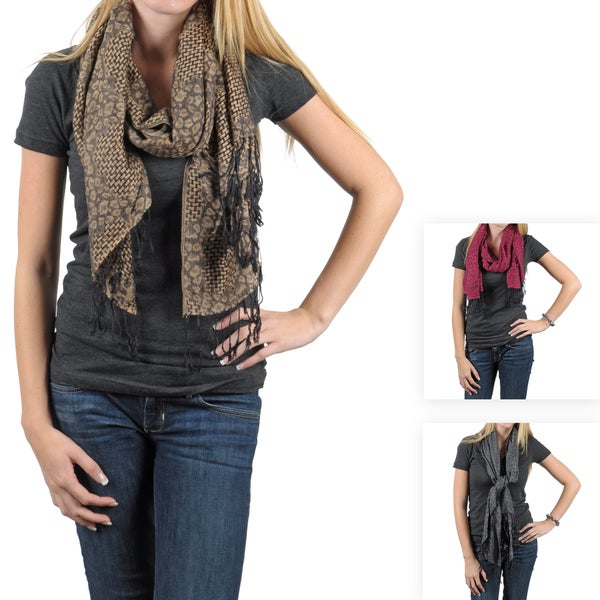 Journee Collection Women's Basketweave Animal Print Fringed Scarf