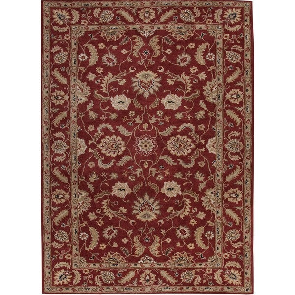 Hand-tufted Traditional Oriental Red Wool Rug (9' x 12')