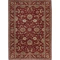 Hand-tufted Traditional Red Wool Oval Rug (8' x 10')